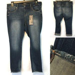 Torrid Boyfriend Raw Fringe Hem Distressed Jeans